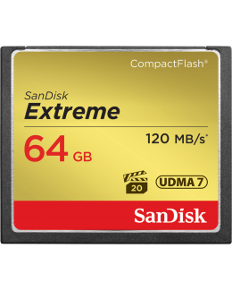 Sandisk Extreme CompactFlash 64GB Memory Card (Up to Read 120 MB/s / Write 85 MB/s)