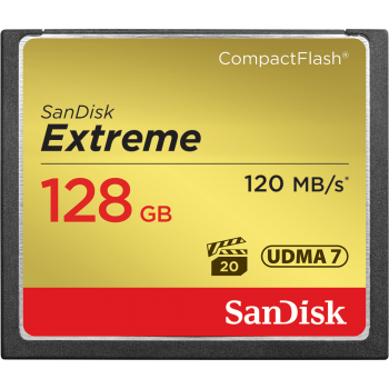 Sandisk Extreme CompactFlash 128GB Memory Card (Up to Read 120 MB/s / Write 85 MB/s)